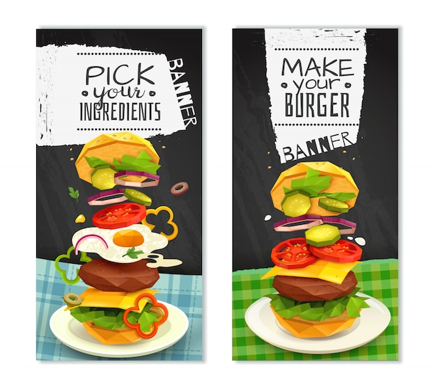 Banners verticales de hamburguesa