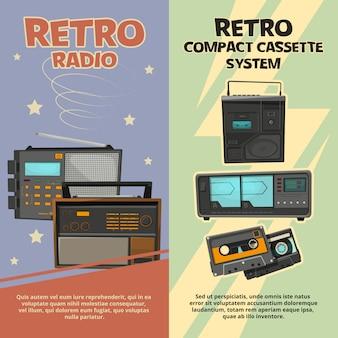 Banners verticales con ilustraciones de grabadoras vintage y radios.