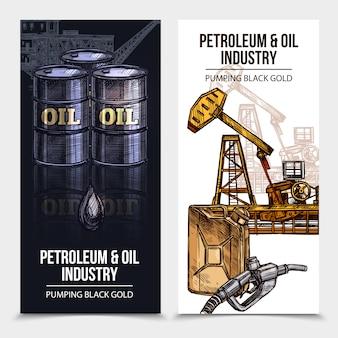 Banners verticales de la industria del petróleo