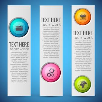 Banners verticales de infografía web con texto y círculos coloridos con iconos de negocios