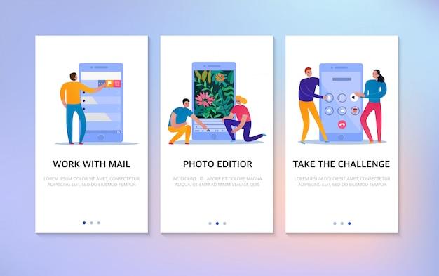 Banners verticales de interacción telefónica establecidos con campo de texto y personas que usan iconos de editor de correo y fotos planos aislados
