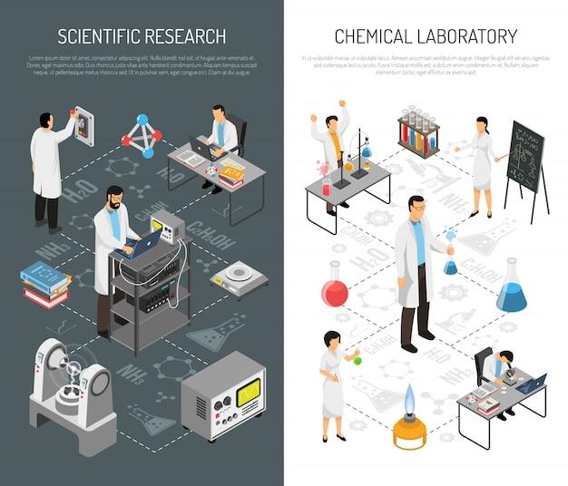 Banners verticales de investigación científica