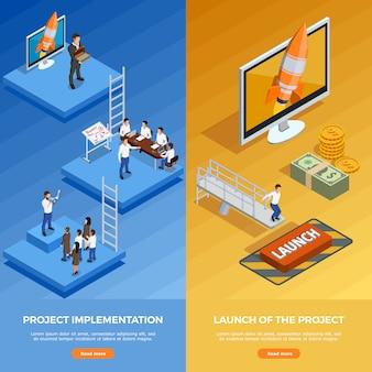 Banners verticales isométricas de estrategia empresarial