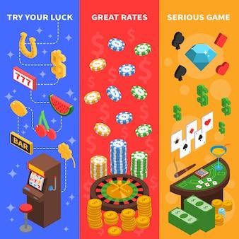 Banners verticales isométricos de casino