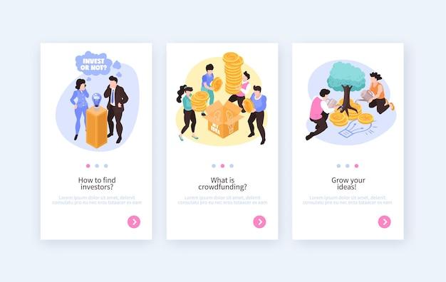 Banners verticales isométricos de financiación colectiva con ilustración de ideas en crecimiento