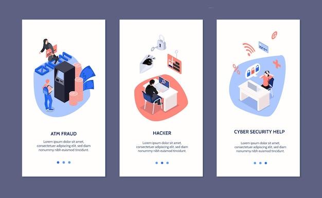 Banners verticales isométricos de seguridad cibernética con iconos de fraude en cajeros automáticos y ataque de piratas informáticos aislados en 3d