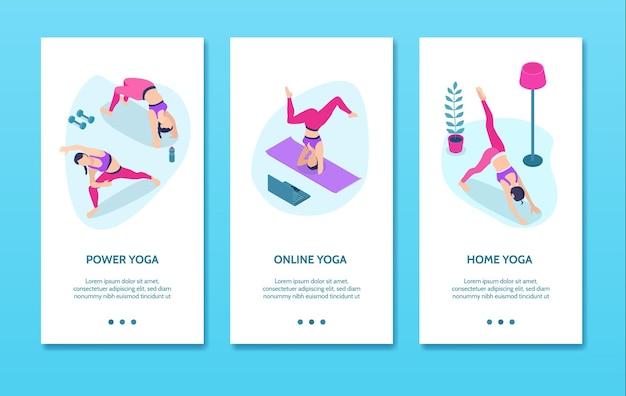 Banners verticales isométricos de yoga