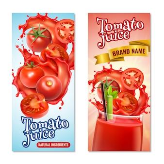 Banners verticales de jugo de tomate realista con salpicaduras de líquido rojo y frutas enteras con texto