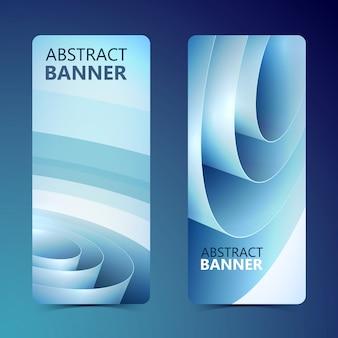 Banners verticales limpios abstractos con bobina de papel de embalaje enrollado azul aislado