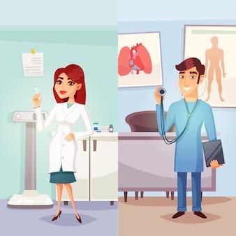 Banners verticales de medicina de dibujos animados