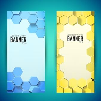 Banners verticales de mosaico geométrico abstracto con hexágonos azules y amarillos
