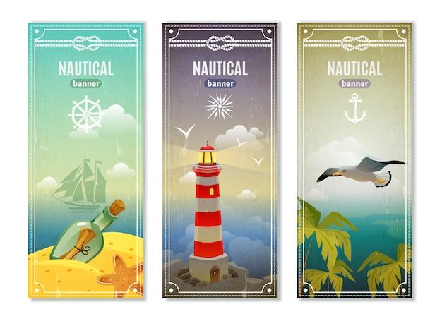Banners verticales náuticos retro mar