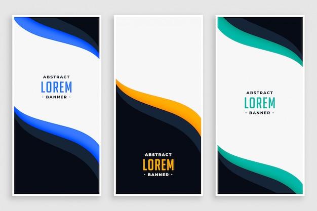 Banners verticales de negocios elegantes en estilo de onda