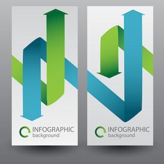 Banners verticales de negocios con flechas de cinta dobladas verdes y azules