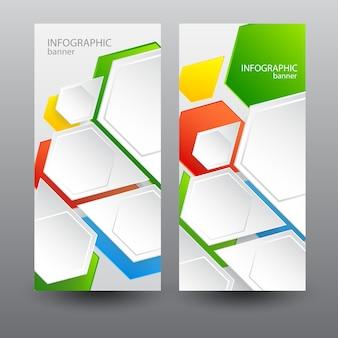 Banners verticales de negocios con hexágonos web ligeros.