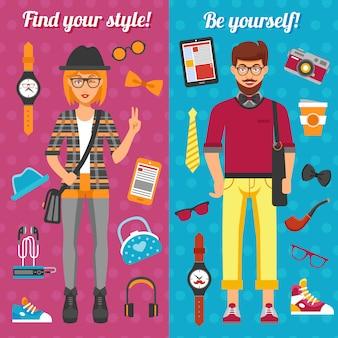 Banners verticales de niño y niña de hipster
