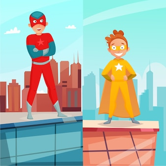 Banners verticales de niños superhéroes