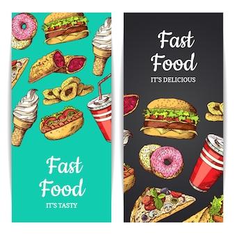 Banners verticales o volantes con comida rápida, helados, hamburguesas, donas aisladas en las llanuras