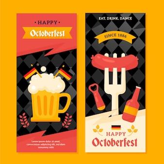 Banners verticales de oktoberfest dibujados a mano