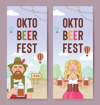 Banners verticales de la oktoberfest