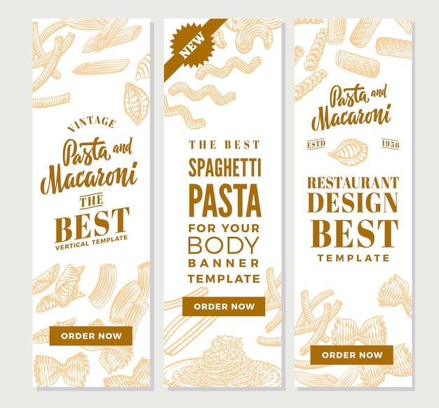 Banners verticales de pasta italiana vintage