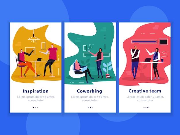 Banners verticales planos de coworking