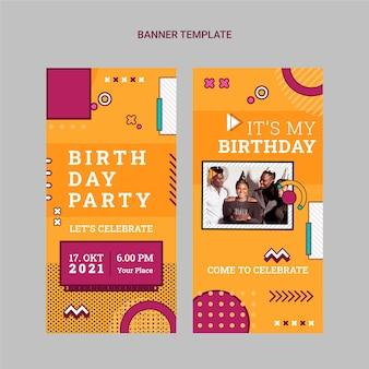 Banners verticales planos de cumpleaños nostálgico de los 90