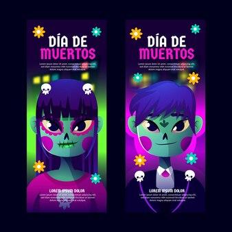 Banners verticales planos del día de los muertos.