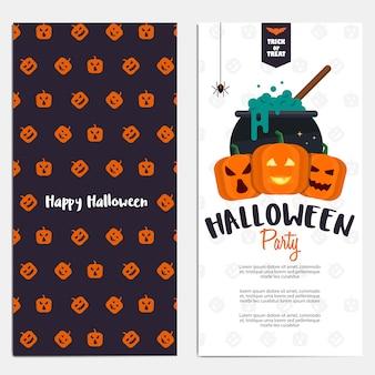 Banners verticales planos hallowen