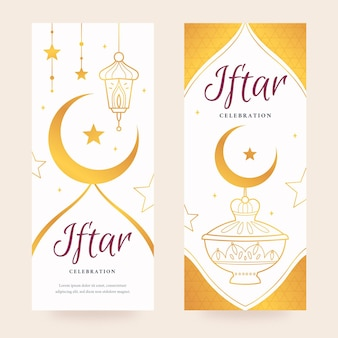 Banners verticales planos iftar