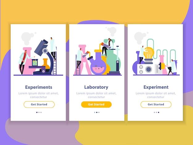 Banners verticales planos de laboratorio de ciencias con personajes humanos durante experimentos, investigaciones e innovación