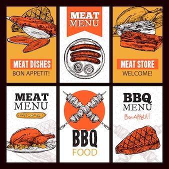 Banners verticales de platos de carne