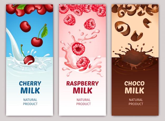 Banners verticales de productos lácteos de dibujos animados