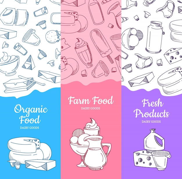 Banners verticales con productos lácteos esbozados y lugar para texto.