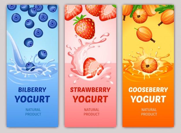 Banners verticales de productos lácteos naturales de dibujos animados