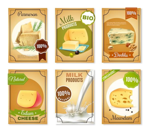 Banners verticales de productos lácteos
