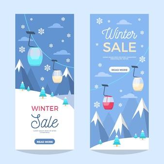 Banners verticales de rebajas de invierno plano