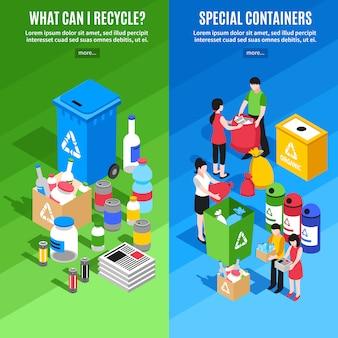 Banners verticales de reciclaje de basura