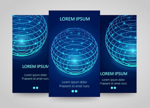 Banners verticales de red moderna, signo de esfera global, esfera de neón 3d, conjunto de volante de planeta. infografías de la red global. ilustración vectorial