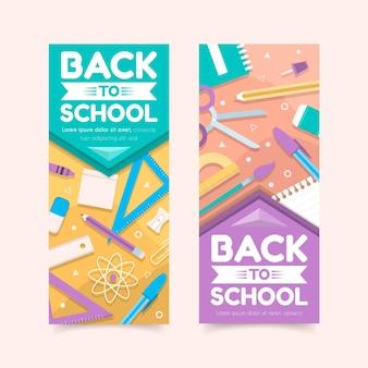 Banners verticales de regreso a la escuela