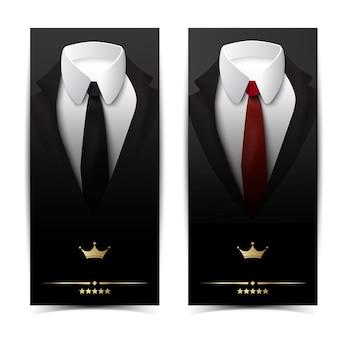 Banners verticales de ropa de negocios con chaquetas clásicas, corbatas rojas negras y camisas blancas