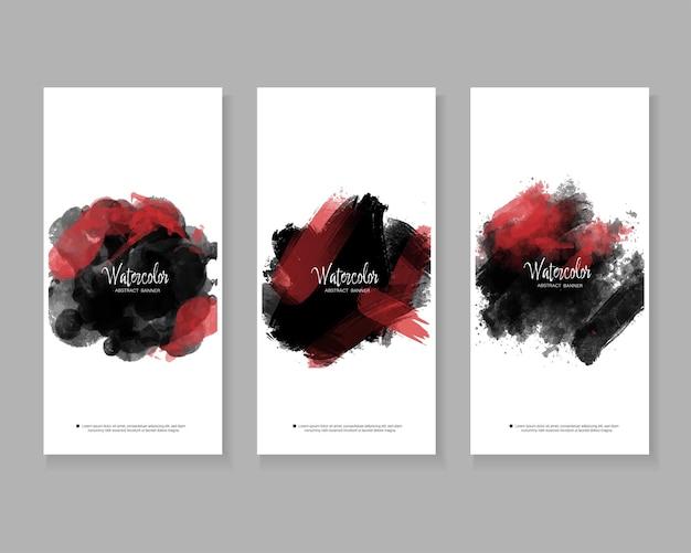 Banners verticales de salpicaduras de acuarela abstracta