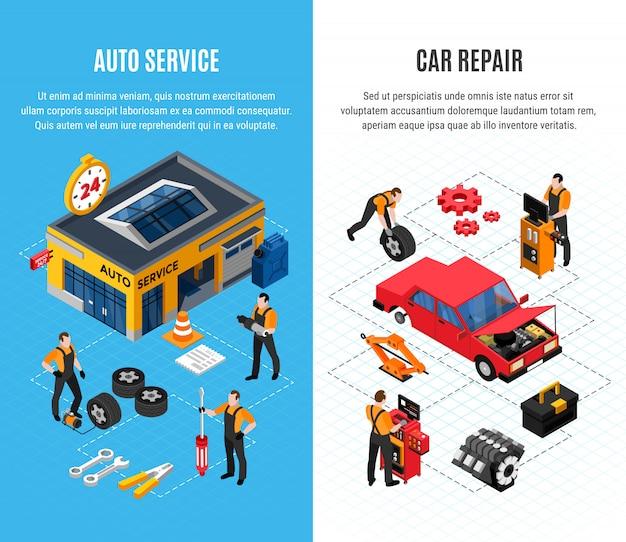 Banners verticales de servicio de coche con herramientas de reparación isométrica ilustración vectorial aislado