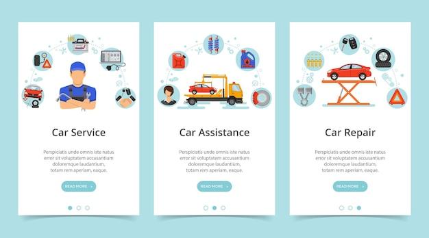 Banners verticales de servicio de coche. servicios de reparación, mantenimiento, asistencia.