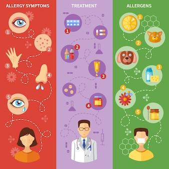 Banners verticales de síntomas de alergia