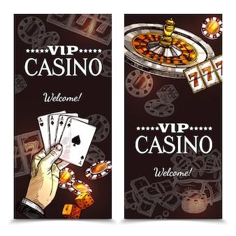 Banners verticales de sketch casino