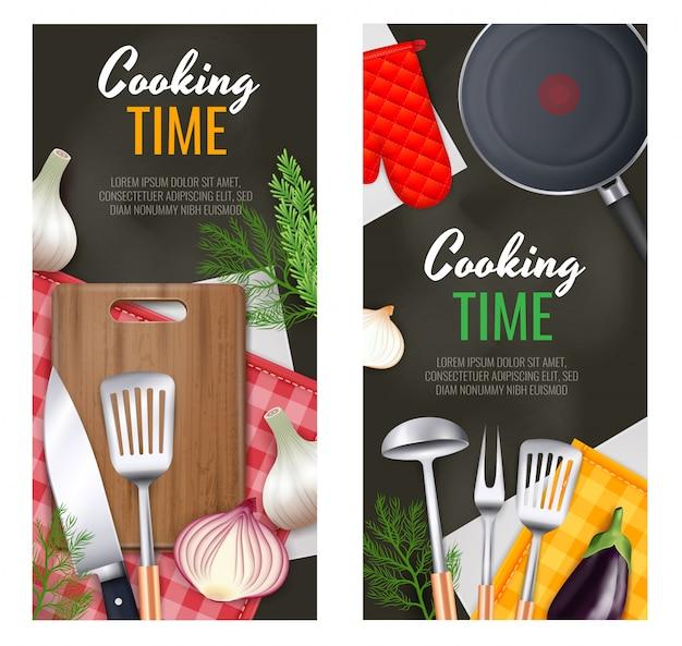 Banners verticales de utensilios de cocina con símbolos de tiempo de cocción realistas aislados