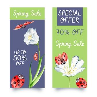 Banners verticales de venta de primavera acuarela con descuentos