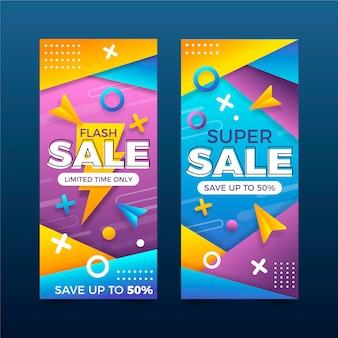 Banners verticales de ventas abstractas degradado