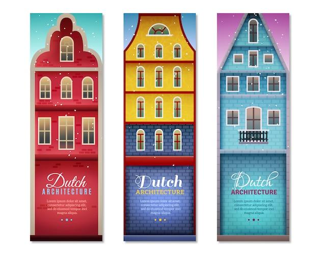 Banners verticales de viaje de casas holandesas